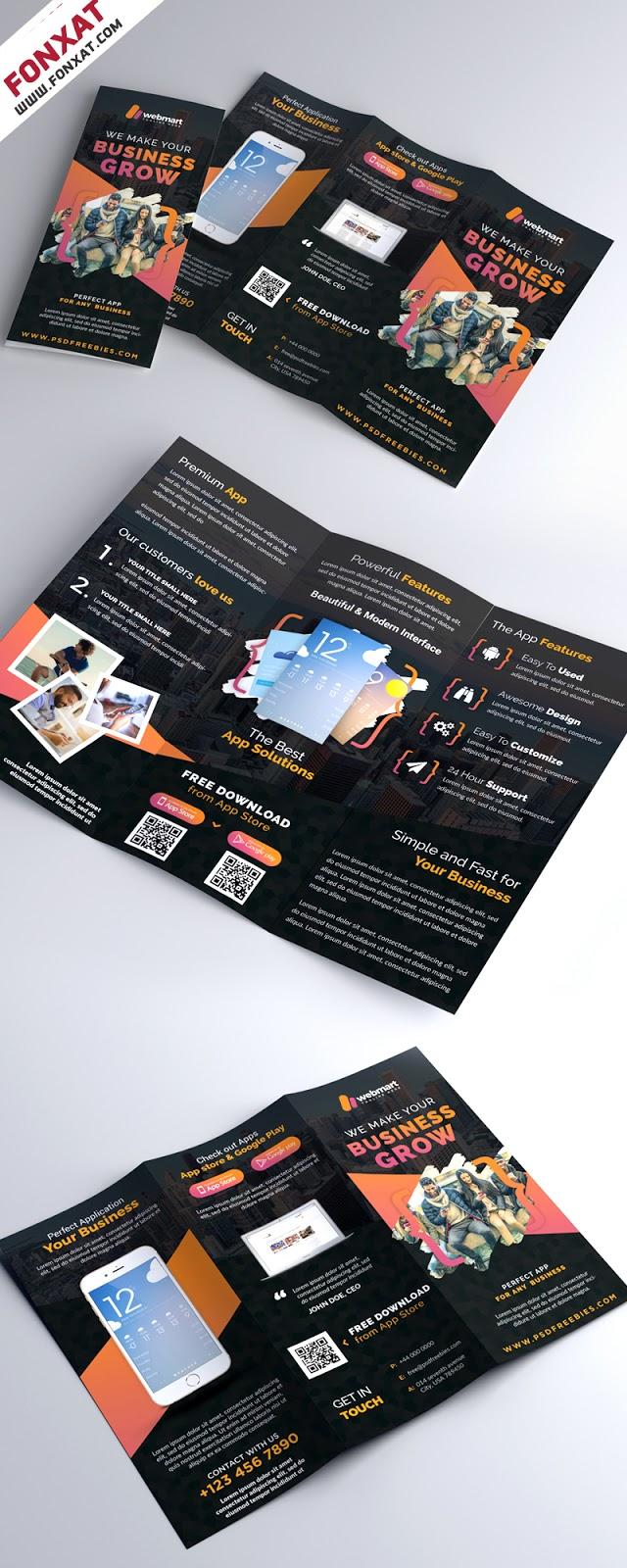 Mobile-App-Promotion-Tri-Fold-Brochure-PSD