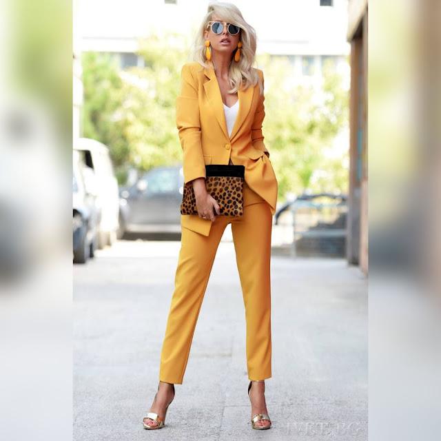 Γυναικείο κίτρινο κοστούμι - σύνολο ORIANA YELLOW