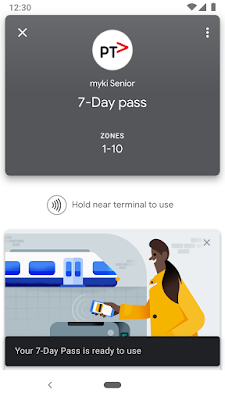 Google Pay screen showing a 7-day transit pass
