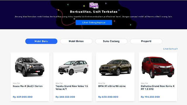Halaman Website Marketplace Seva Pusat Mobil Murah