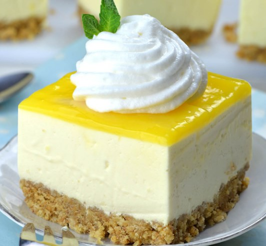 No Bake Lemon Cheesecake Bars #desserts #cake