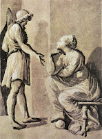 Hero and Sibyl is a wood print made by Ugo da Carbi with Chiaroscuro technique circa 1509-1532