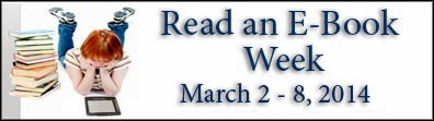 Read an Ebook Week banner, horizontal with child reading ebook