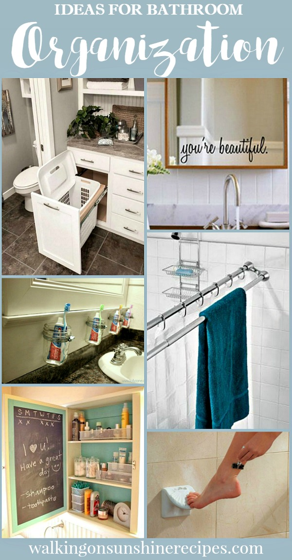 Bathroom Organization Ideas and Tips featured today on Walking on Sunshine.