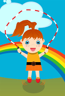 Clipart image of a little girl skipping in front of a rainbow