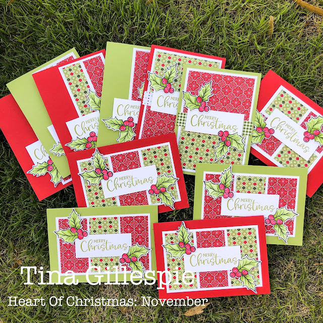 scissorspapercard, Stampin' Up!, Heart Of Christmas, Joy To The World, Paper Pumpkin, Christmas Gleaming, Heartwarming Hugs DSP, Stampin' Blends, Double Wonder Template Cards