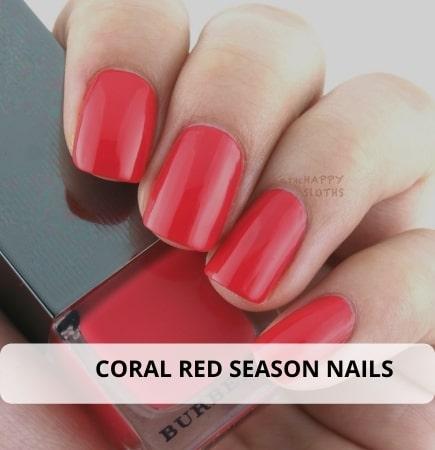 Coral Red Season nails
