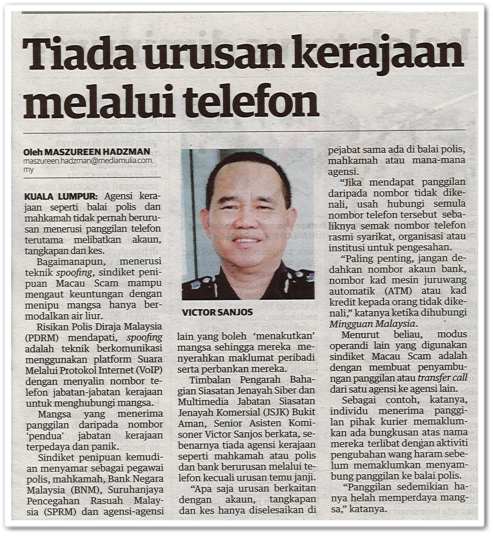 Tiada urusan kerajaan melalui telefon - Keratan akhbar Mingguan Malaysia 25 Oktober 2020