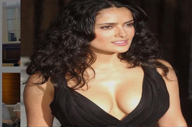 Salma Hayek Deep Cleavage Show in Black Dress Actress Trend