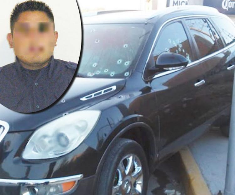 Sicarios acribillan a 35 balazos a policía municipal que se dirigía a atrabajar en San Luis Potosí.
