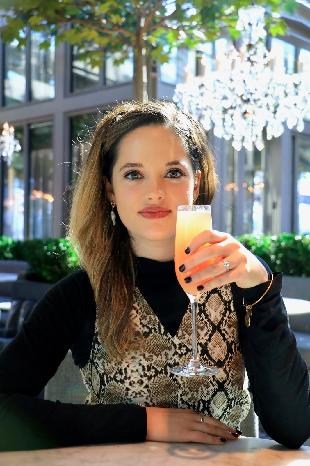 Nyc fashion blogger Kathleen Harper at the Restoration Hardware rooftop for brunch.
