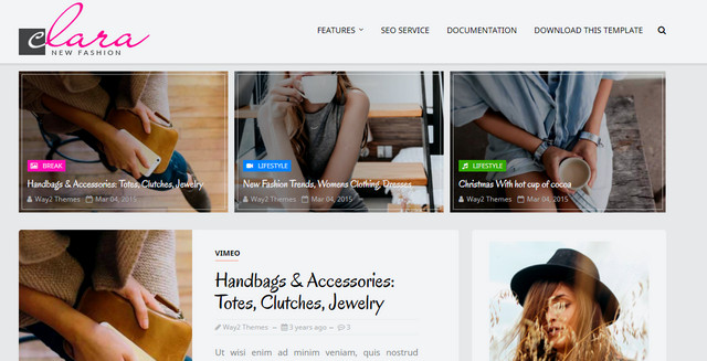 Clara Fashion Responsive Blogger Templates
