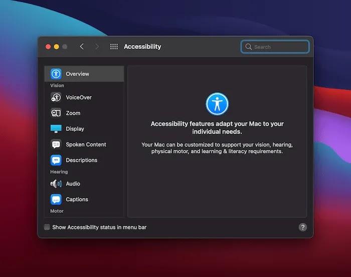 خيارات الوصول لنظام التشغيل Mac.