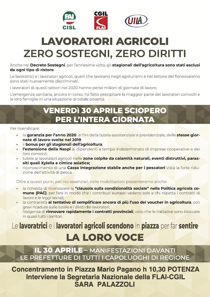 Potenza, venerdì 30 aprile sciopero dei braccianti agricoli per l'intera giornata