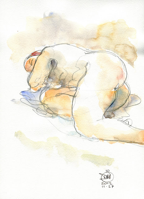 10 minute watercolour nude study by David Meldrum