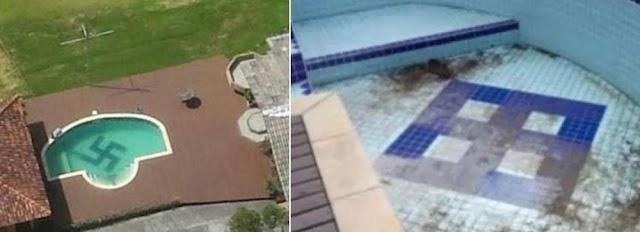 Professor que tinha feito símbolo nazista em piscina tem processo arquivado após remover o símbolo