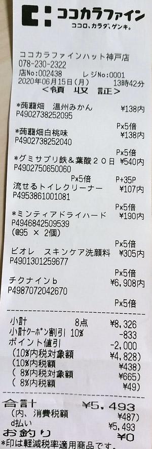 ココカラファイン ハット神戸店 2020/6/15 のレシート