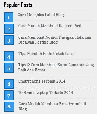 Membuat Popular Post Blog Dengan Nomor
