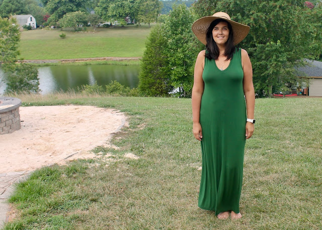 Simplicity 1358 sleeveless maxi dress in green rayon jersey.