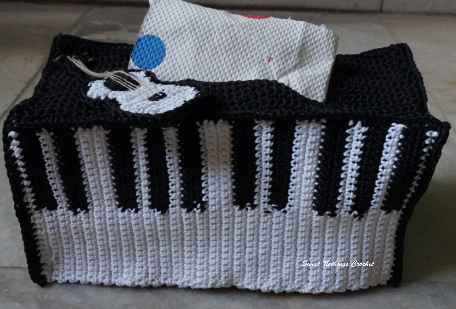 Sweet Nothings Crochet Piano Inspired Tissue Box Cover