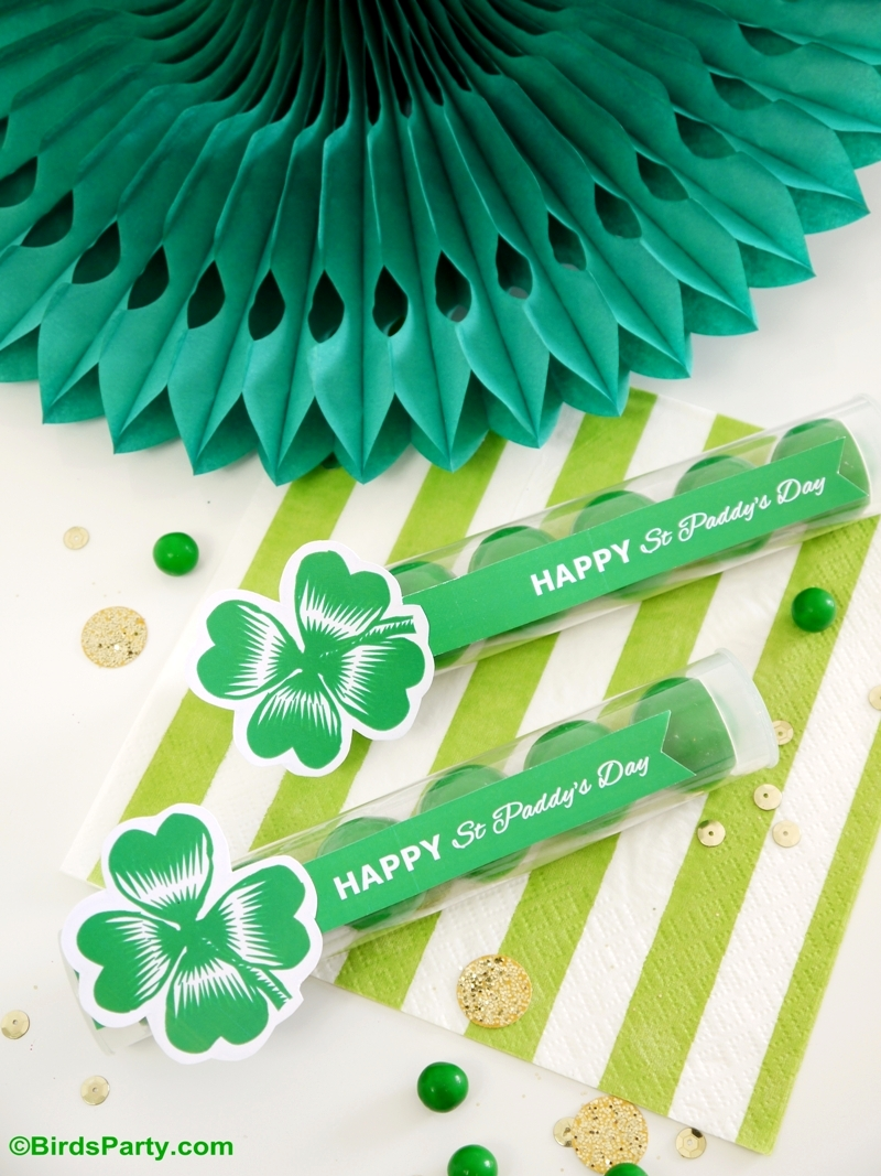 St Patrick's Day Free Printables & DIY Favor - BirdsParty.com