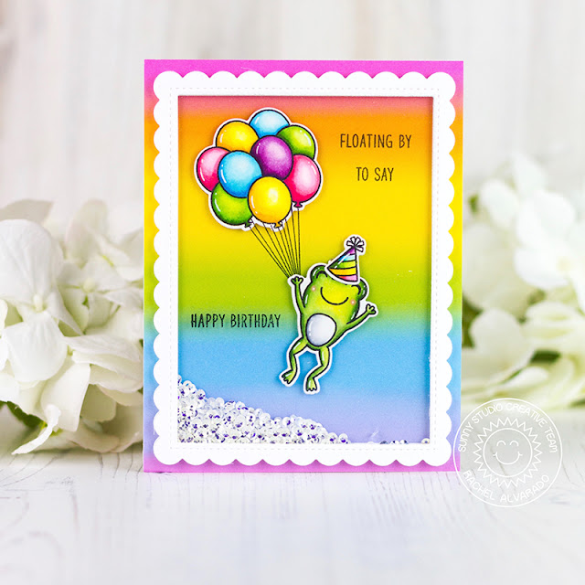 Sunny Studio Stamps: Floating By Froggy Friends Frilly Frame Dies Birthday Card by Rachel Alvarado