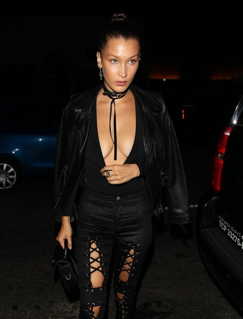 Bella Hadid Wears is Laced Up in All Black Outfit in West Hollywood