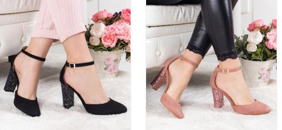 Pantofi negri, roz, rosii cu toc gros eleganti din glitter moderni