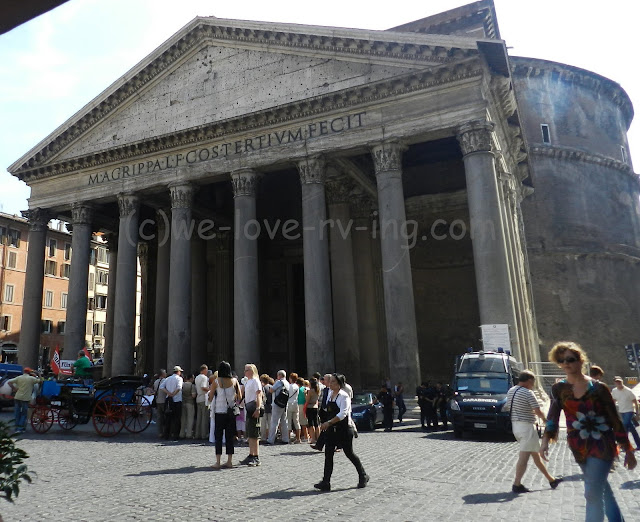The massive columns and the front of the Pantheon in Rome