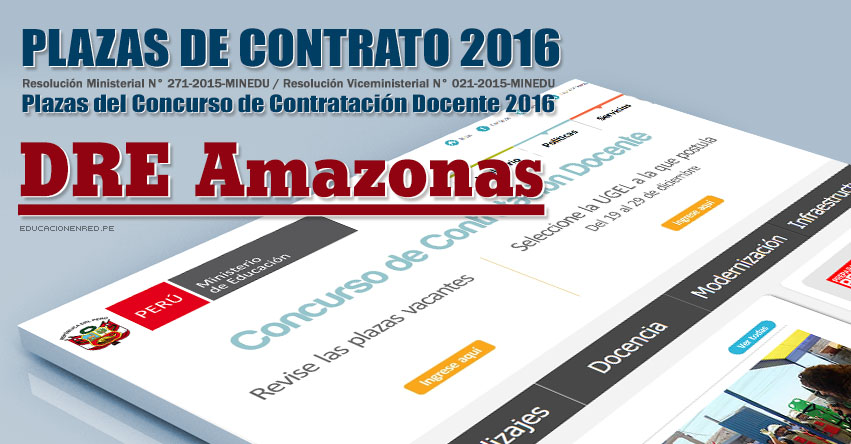 DRE Amazonas: Plazas Vacantes Contrato Docente 2016 (.PDF) www.drea.gob.pe