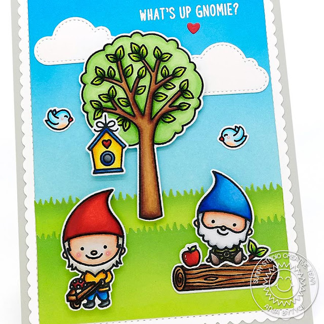 Sunny Studio Stamps: Seasonal Trees Fluffy Clouds Frilly Frames Home Sweet Gnome Punny Card Anja Bytyqi