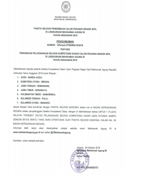 Penundaan Pelaksanaan Seleksi SKD CPNS Mahkamah Agung di 7 Wilayah