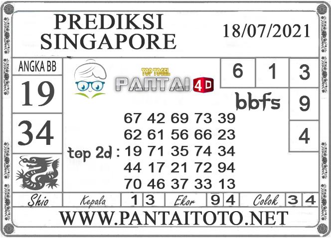 PREDIKSI TOGEL SINGAPORE PANTAI4D 18 JULI 2021