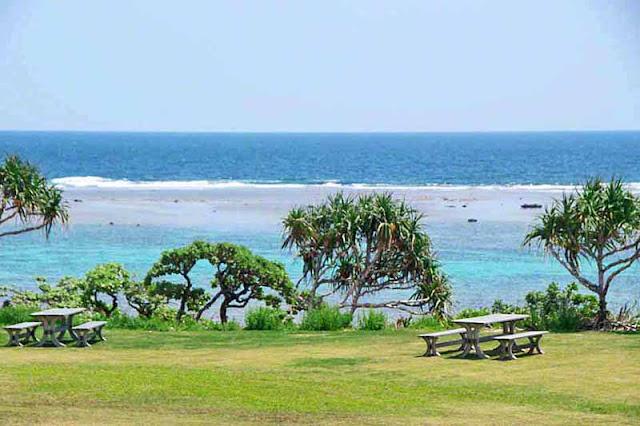 Seashore scene outside restaurant, picnic tables, trees