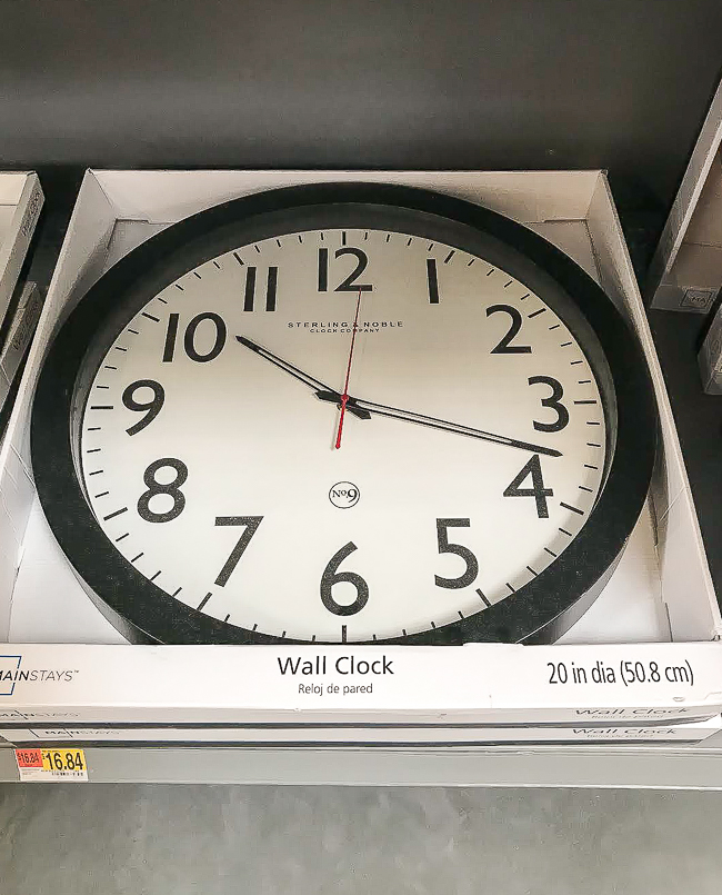 Affordable wall clock from Walmart