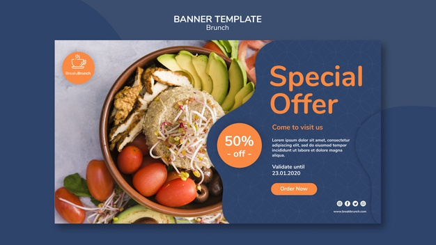Brunch theme for banner template Free Psd
