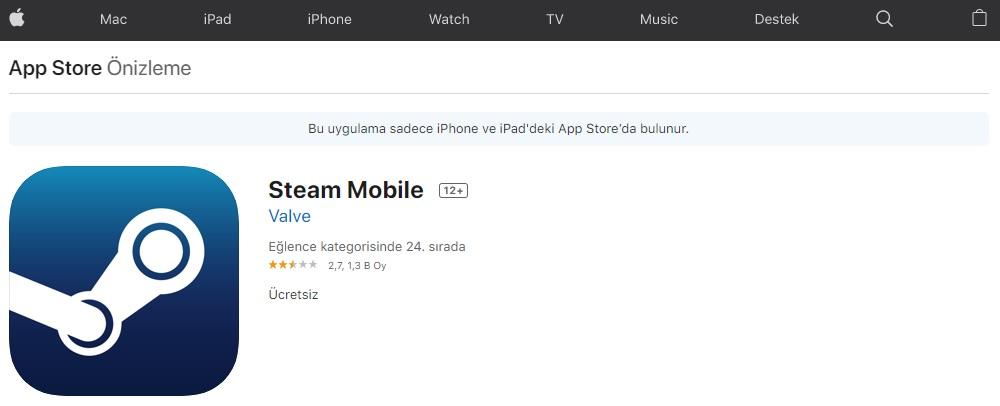 Steam iOS Mobil Uygulaması