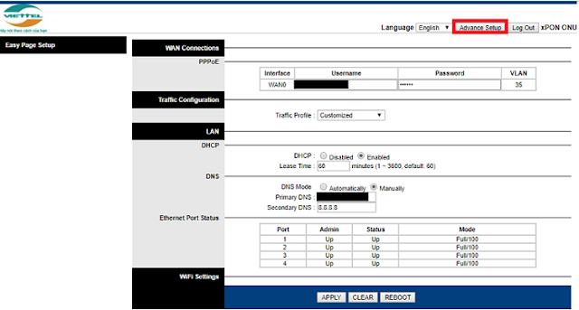 Hướng dẫn mở PORT Modem GPON H646EW