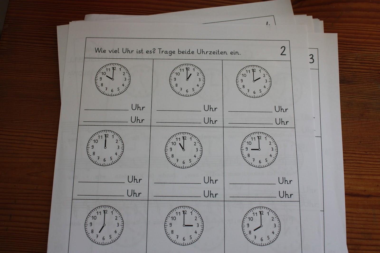 Arbeitsblätter Uhrzeit Volle Stunden : Cuisenaire farbige rechenstäbchen uhrzeit lernen vorlagen