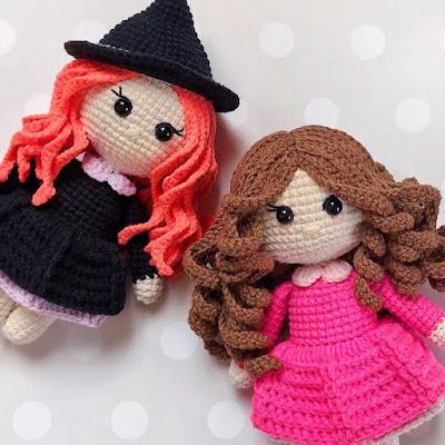 Вязаные куклы ведьма и принцесса
