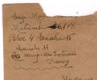 exemples d'enveloppes utilisées pour broder le nom des camps