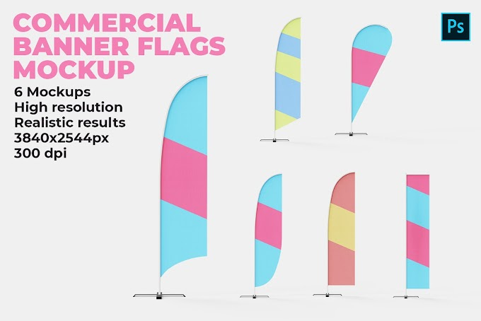 Commercial Banner Flags Mockup 4523502
