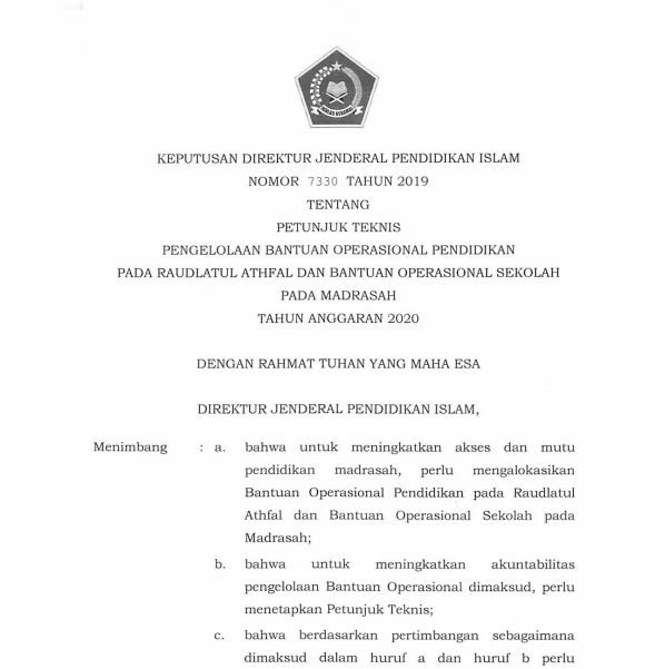 Juknis BOS Madrasah 2020