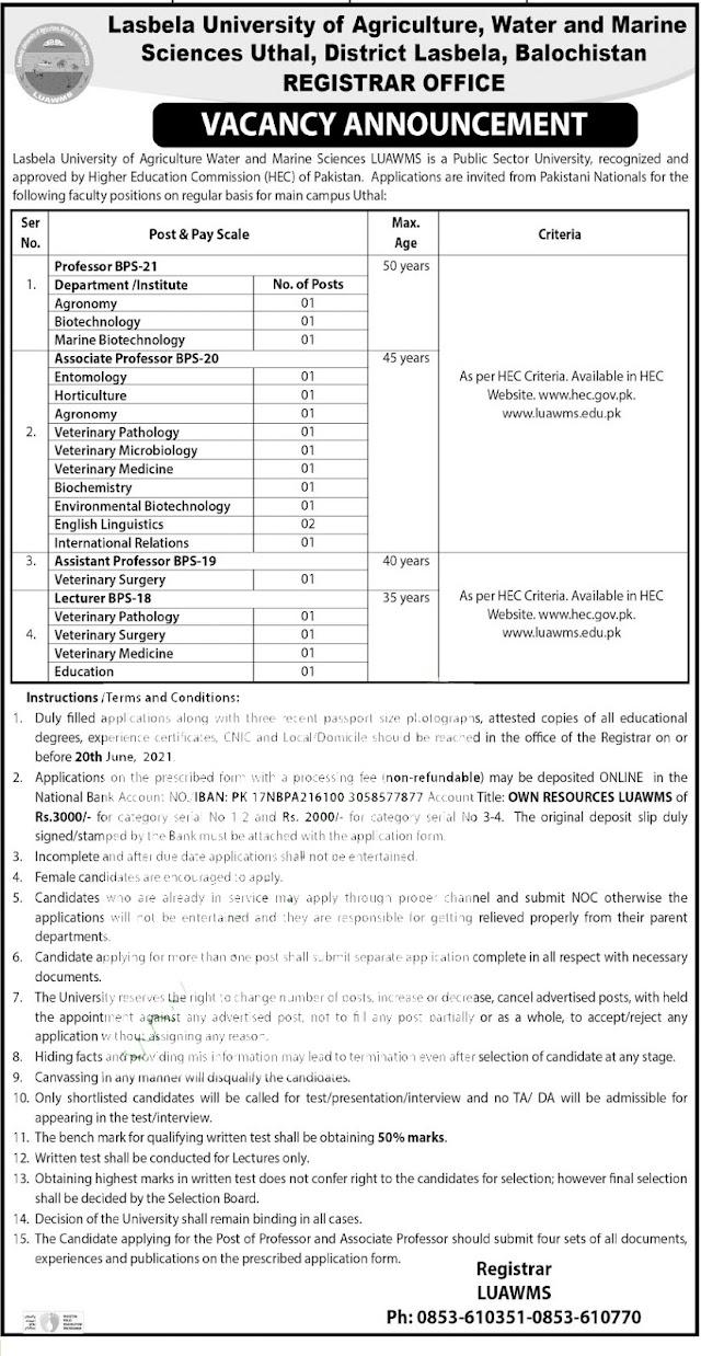 Latest Jobs 2021 | Lasbela University Of Agriculture Water & Marine Sciences Jobs 2021