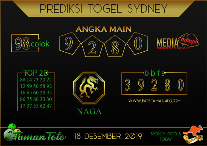 Prediksi Togel SYDNEY TAMAN TOTO 18 DESEMBER 2019