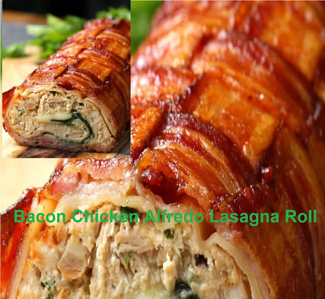 Bacon Chicken Alfredo Lasagna Roll
