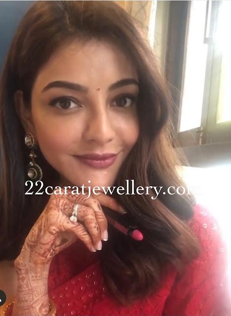 Kajal Agarwal in Polki Earrings