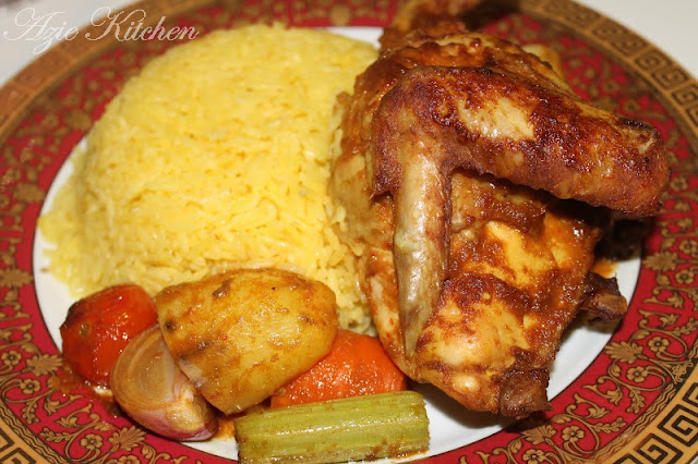 Nasi Ayam Kukus Dengan Ayam Panggang