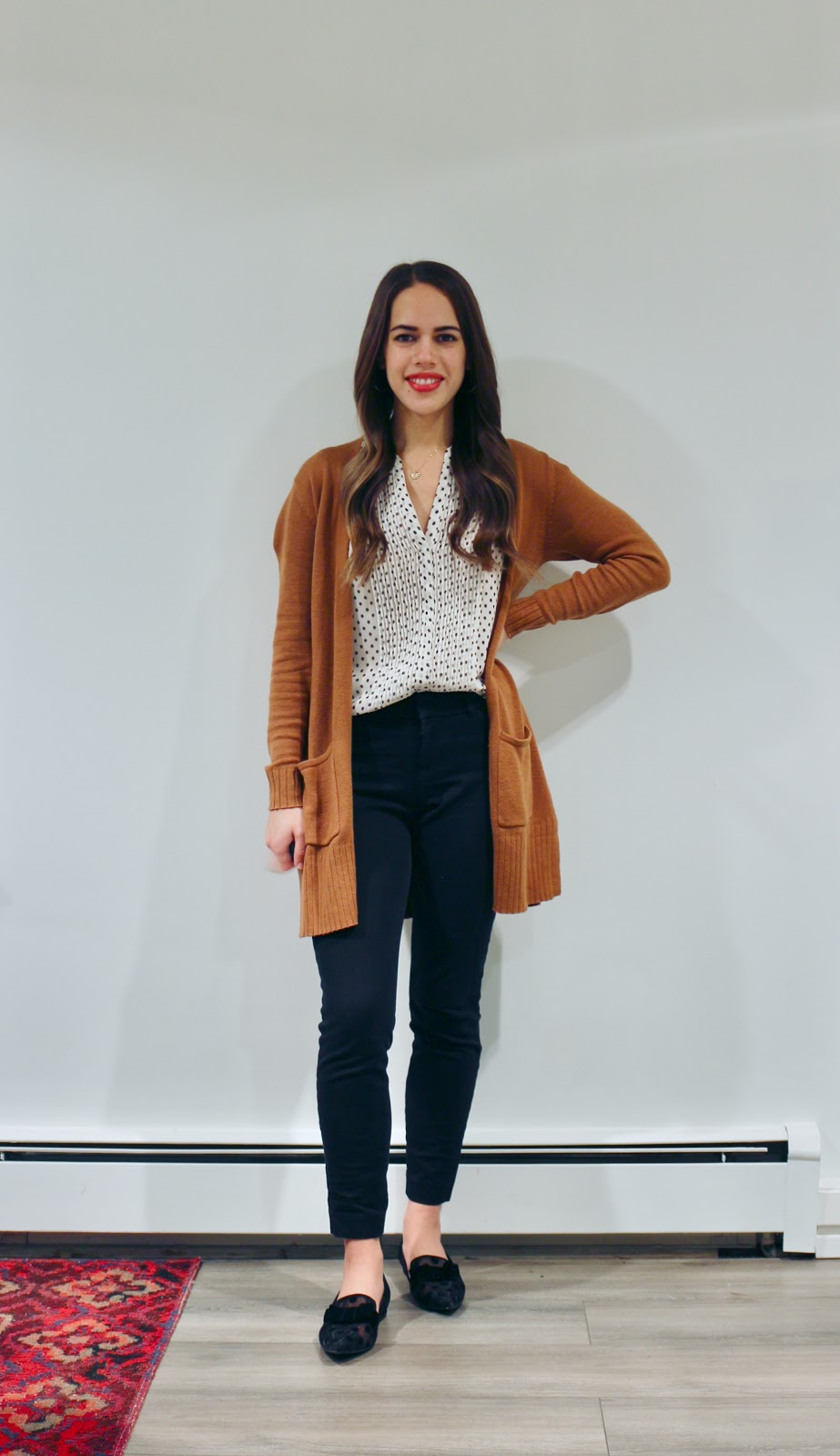 Jules in Flats - Polka Dots & Camel (Business Casual Winter Workwear on a Budget)