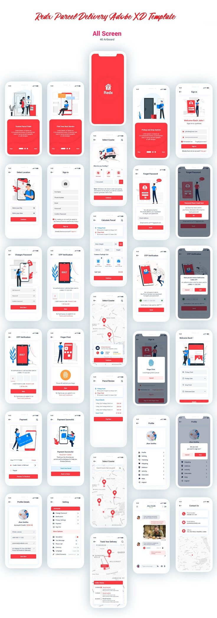 Parcel Delivery Adobe XD Template